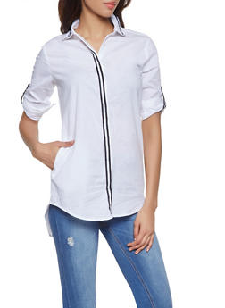 Woman White Shirt with Collar