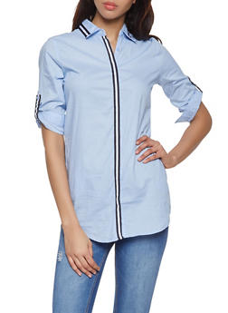 Stripe Tape Trim Shirt - Blue - Size S - 1090038349562