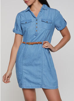 Belted Denim Dress - 1090038349712