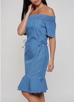 Smocked Off the Shoulder Denim Dress - 1090038349714