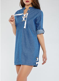 Lace Up Denim Dress - 1090038349732