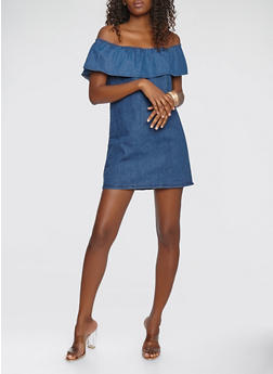Off the Shoulder Denim Dress - 1090038349736