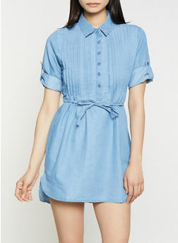 Pleated Denim Mini Shirt Dress - 1090038349739