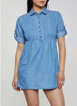 Pleated Denim Mini Shirt Dress - 1090038349739