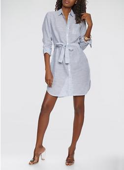 Striped Linen Button Front Dress - 1090038349751