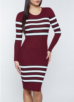 Striped Ribbed Sweater Dress - 1090051060097