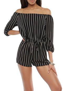 Striped Off the Shoulder Romper - 1090051061116