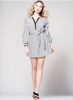 Gingham Smocked Sleeve Shift Dress - 1090051063368