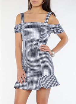 Gingham Flounce Hem Off the Shoulder Dress - 1090051063392