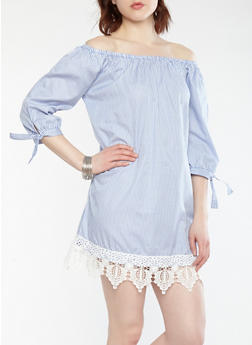 Striped Crochet Trim Off the Shoulder Dress - 1090051063593