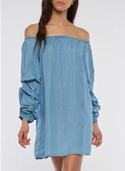 Off the Shoulder Chambray Tiered Sleeve Shift Dress - 1090051063673