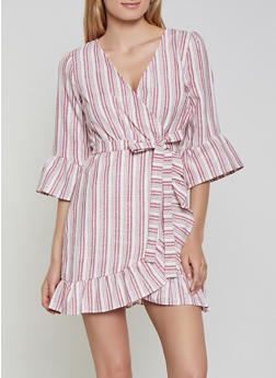 Striped Faux Wrap Linen Dress - 1090051063871
