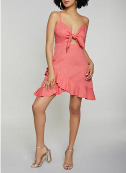 Tie Front Ruffled Linen Dress - 1090051063910