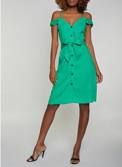 Button Front Off the Shoulder Dress - 1090051063936