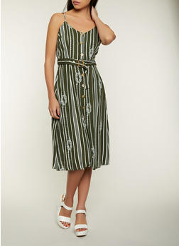 Belted Button Front Rope Print Dress - 1090051064272