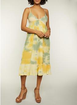 Tie Dye Ruffled Hem Cami Dress - 1090051064313
