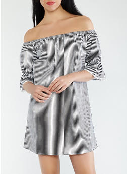 Striped Off the Shoulder Dress - 1090054260439