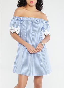 Striped Off the Shoulder Dress - 1090054260442