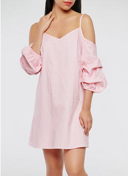 Striped Off the Shoulder Dress - 1090054260444