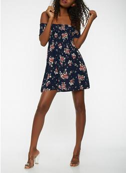 Floral Smocked Off the Shoulder Dress - 1090054261462