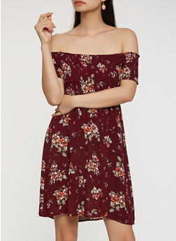 Floral Smocked Off the Shoulder Dress - 1090054261462 2fe920a4f