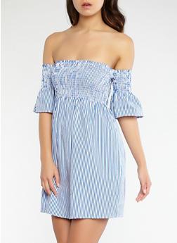 Striped Smocked Off the Shoulder Dress - 1090054269903