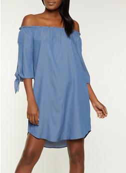 Tie Sleeve Off the Shoulder Dress - 1090058750658