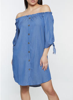 Tie Sleeve Off the Shoulder Button Dress - 1090058750659