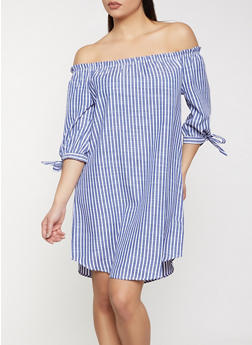 Striped Off the Shoulder Tie Sleeve Dress - 1090058750662