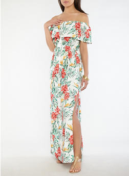 Tropical Floral Off the Shoulder Maxi Dress - 1090058753510