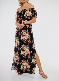 Off the Shoulder Floral Maxi Dress - 1090058753511