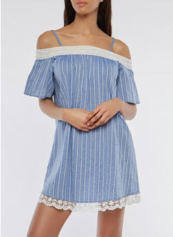 Striped Crochet Trim Off the Shoulder Dress - 1090058753518