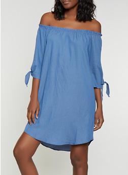 Chambray Tie Sleeve Dress - 1090058754620