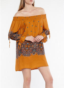 Border Print Off the Shoulder Dress - 1090069390435