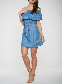 Chambray Off the Shoulder Belted Dress - 1090069390492