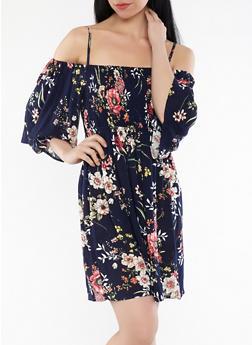 Smocked Floral Off the Shoulder Dress - 1090069393617