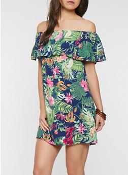 Floral Off the Shoulder Dress - 1090069393665