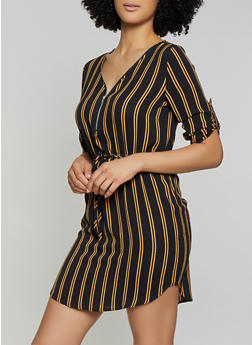 Striped Crepe Knit Dress - 1090074281191
