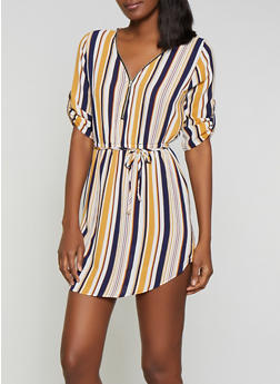 Striped Crepe Knit Dress - 1090074281191