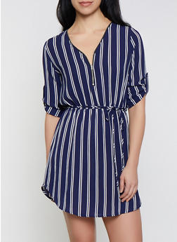 Zip Neck Striped Dress - 1090074281192