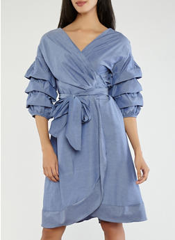 Chambray Wrap Dress - 1090074281512