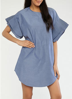 Chambray Shift Dress with Pleated Sleeves - 1090074281513