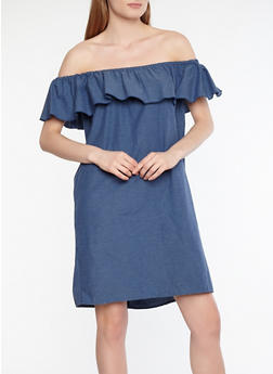 Off the Shoulder Ruffle Dress - 1090074287281
