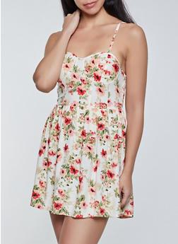 Floral Mini Skater Dress - 1090075173238