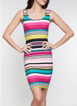 Printed Soft Knit Tank Dress - WHITE - 1094015050134