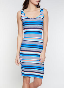 Printed Soft Knit Tank Dress - BLUE - 1094015050134