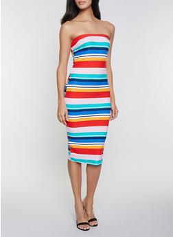 Printed Soft Knit Tube Dress - PINK - 1094015050135
