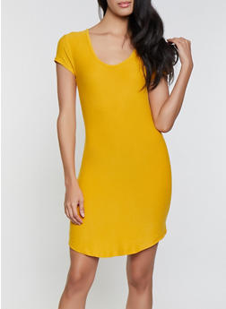 Solid T Shirt Dress - 1094015050139