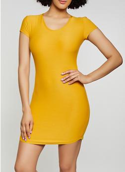 Solid T Shirt Dress - 1094015050139