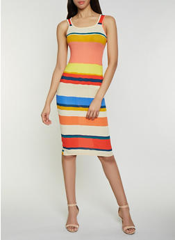 Striped Ribbed Knit Tank Dress - 1094015050333
